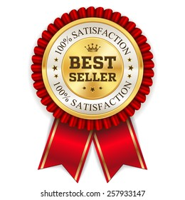 Gold best price badge with red ribbon on white background