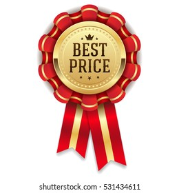 Gold best price rosette / badge with red ribbon on white background