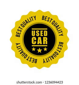 Gold Best Quality Used Car Medal, Stamp or Badge Icon Vector