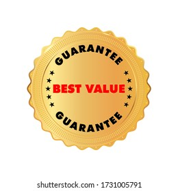 Gold Best Value badge inside gold shiny emblem. Red and black color text. Stock vector illustration on white isolated background.