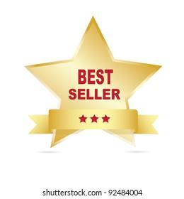 Gold bestseller label. Vector.