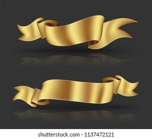 Gold big ribbon banner with shadows hight resolution. Vector illustration for advertising  luxury style.