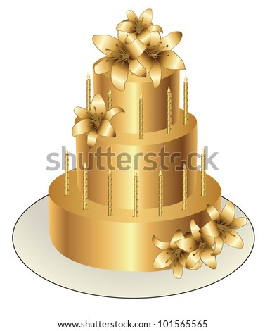 Gold Birthday Cake Vector Design Stock Vector Royalty Free