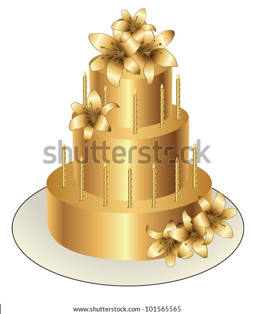 Astounding Gold Birthday Cake Vector Design Stock Vector Royalty Free 101565565 Funny Birthday Cards Online Alyptdamsfinfo