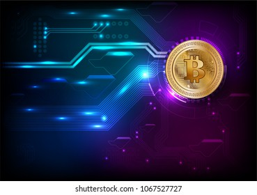 Gold bit coin Cryptocurrency on digital Illustrated background /vector