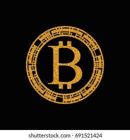 Gold Bitcoin Coin Logo Design. Vector illustration
