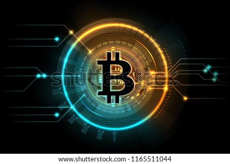 Gold Bitcoin Mining Business Symbol Internet Stock Vector Royalty