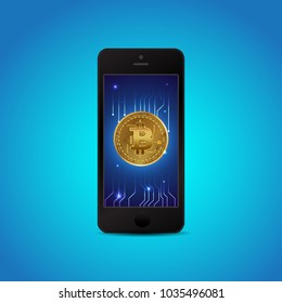 Gold bitcon on smartphone