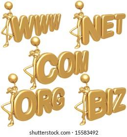 Gold BIZ COM NET ORG WWW symbols