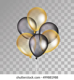 Gold and black balloon on background. Party balloons for event design. Transparent balloons isolated in the air. Party decorations for birthday, anniversary, celebration. Shine transparent balloon.