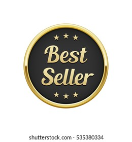Gold black best seller round badge