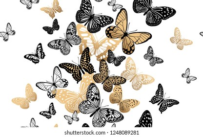 Gold and black butterflies on a white background seamless pattern. Vector illustration. Template for the design of trend fabrics, home textiles, clothing, paper, wallpaper, unusual packaging, curtains