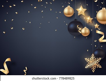 Gold and black Christmas balls with gold stars and big golden snowflake. Vector background for happy new year and Christmas.