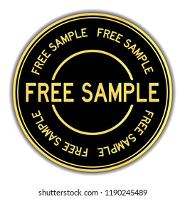 Gold and black color sticker in word free sample on white background
