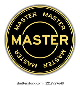 Gold and black color sticker in word master on white background