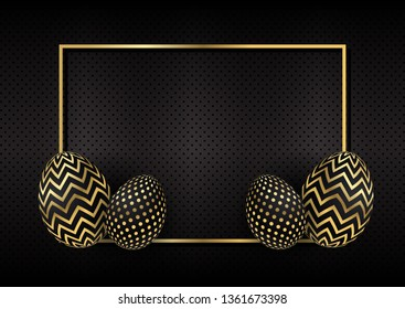 Gold and black Easter eggs on a perforated metal background with gold frame