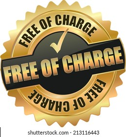 gold black free of charge sign