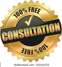 gold black free consultation sign