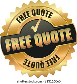 gold black free quote sign