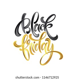 Gold Black Friday Sale calligrapy lettering. Vector illustration EPS10
