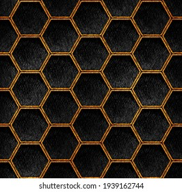 Gold and black geometric hexagon grid pattern art deco Background. Artistic pencil texture line style. Honeycomb dark repeat design art