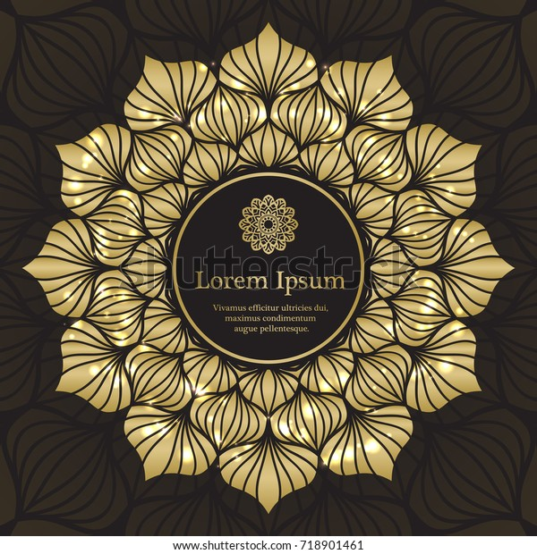 Gold Black Invitation Template Floral Mandala Stock Vector ...