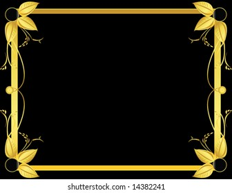 Gold and black leaf background 1