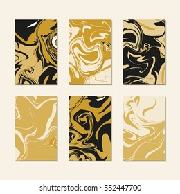 Gold black luxury marbling texture. Marble pattern cards template vector. Abstract liquid paint ebru print.