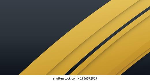 Gold black paper waves abstract banner design. Elegant wavy vector background