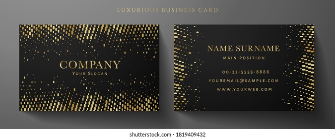 Gold and black premium vip card template (Gift Card set). Deluxe pattern (golden circular dots). Rich design useful for invite event, luxury gift certificate, exclusive voucher