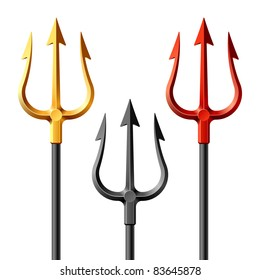 Gold, black and red tridents. Vector.