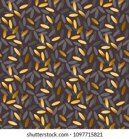 Gold and black rice grain seamless pattern. Lack and happiness simbol rapport for background, wrapping paper, fabric. Endless repeatable motif for surface design. stock vector illustration.