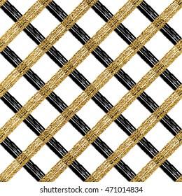 Goldschwarzer nahtloser Musterkäfig, silberglänzender und schwarzer Hintergrund von diagonalen Streifen, Linien oder Strichen, handgezeichnete Vektorillustration Muster für Einladung, Karte, Hochzeit, Urlaub, Web, Papier, Umhüllung