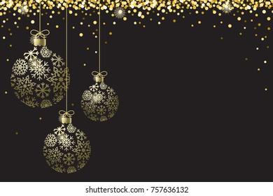 Gold Black Sparkle Ornaments Background Border Vector