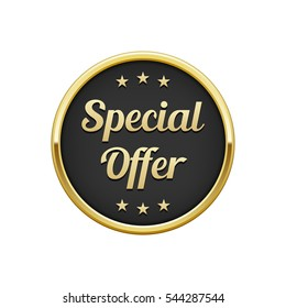 Gold black special offer round badge