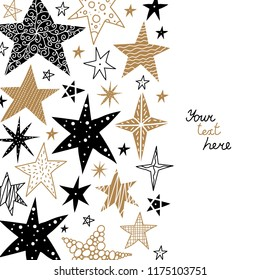 Gold and black stars. Cute postcard.