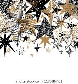 Gold and black stars. Cute postcard.