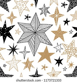 Gold and black stars. Seamless vector pattern. Seamless pattern can be used for wallpaper, pattern fills, web page background, surface textures.