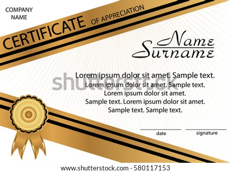 Gold And Black Template Certificate Of Appreciation Elegant Background Winning The Competition Reward