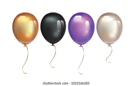 Gold, black, ultra violet balloon and pearl balloon with reflects isolated on white background. Birthday ballon set.  Inflatable air flying balloon realistic 3D vector illustration.