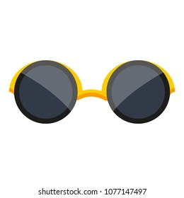 Gold black vintage retro girl female summer time weekend vacation holiday beach happy logo poster flyer. Modern flat vector illustration icon on white. Hipster geek men boy male trendy sunglasses.