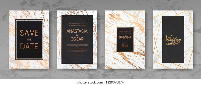 Gold, black, white marble template, artistic covers design, colorful realistic texture, luxury backgrounds. Trendy pattern, graphic poster, geometric brochure, cards. Vector illustration