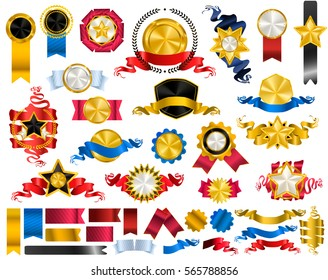 Gold, black and white vintage and retro crest logo elements, golden shields, stars and circles collection, award laurel wreaths, badges set with red, gold, blue ribbons and tapes. Vector illustration