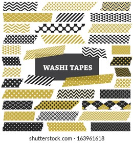 Gold, Black and White Washi Tape Strips with Torn Edges and Different Patterns. Semitransparent. Photo Frame Border, Web Blog Layout Element, Clip Art, Scrapbook Embellishment. Global colors used.