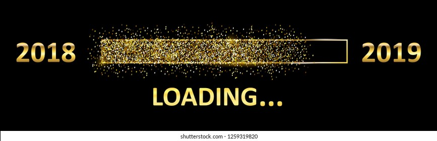 Gold Blaster Load Bar 2019. Expectation of the holiday. From 2018 to 2019 year – stock vector