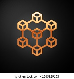 Gold Blockchain technology icon isolated on black background. Cryptocurrency data sign. Abstract geometric block chain network technology business. Vector Illustration