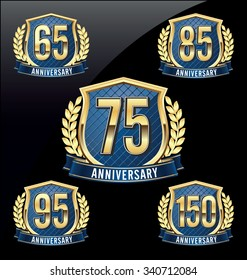 Gold and Blue Anniversary Badge 65th, 75th, 85th, 95th, 150th Years