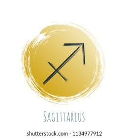 Gold blue circle Sagittarius horoscope icon, round hand painted zodiac vector sign. Astrological icon isolated. Sagittarius astrology horoscope symbol clip art dark blue and gold on white background.