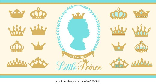 Gold and blue crowns set. Little prince design elements. Template silhouettes of crowns for laser cutting.Set of gold crown icons. Silhouettes of little prince
