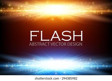 Gold & blue light design. Illuminated illustration. Electric flash for your business design.  Vector illustration.